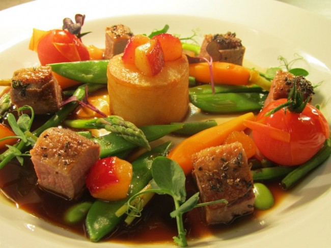 ROYAL Gressingham Duck, Fondant Potato and Roasted Plums served with Summer Vegetables (2)