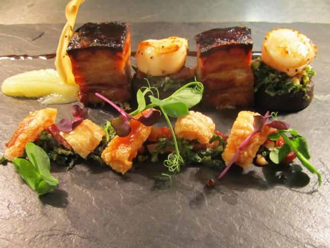 ROYAL honey roasted slow cooked pork belly, scallops, bourdon noir & apple puree